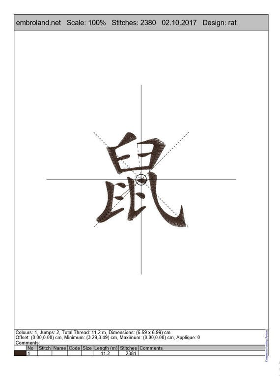 Rat Chinese Kanji Characters Symbol Instant Download Machine Etsy