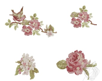 Set of 4 Embroidery Designs - Roses Embroidery Design - Bird and Flowers embroidery pattern - Pack of four designs - Instant Download
