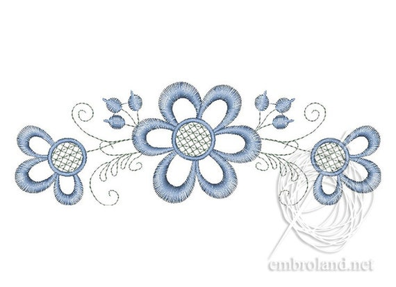 Simple Flower Embroidery Design Chamomile Machine Embroidery Etsy