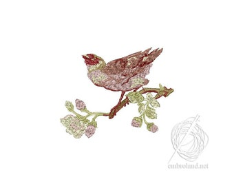 Bird Embroidery Design - Flowers Embroidery Design - Bird and Flowers embroidery pattern - A bird on a branch - Instant Download