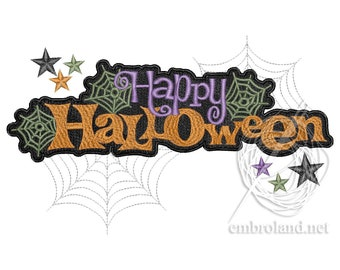 Happy Halloween Embroidery Design - Happy Halloween Text Embroidery - Spiderweb Embroidery Design Web Machine Embroidery File