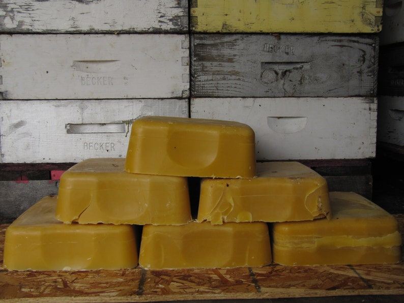Unfiltered  beeswax block from our northern Michigan Honey image 0