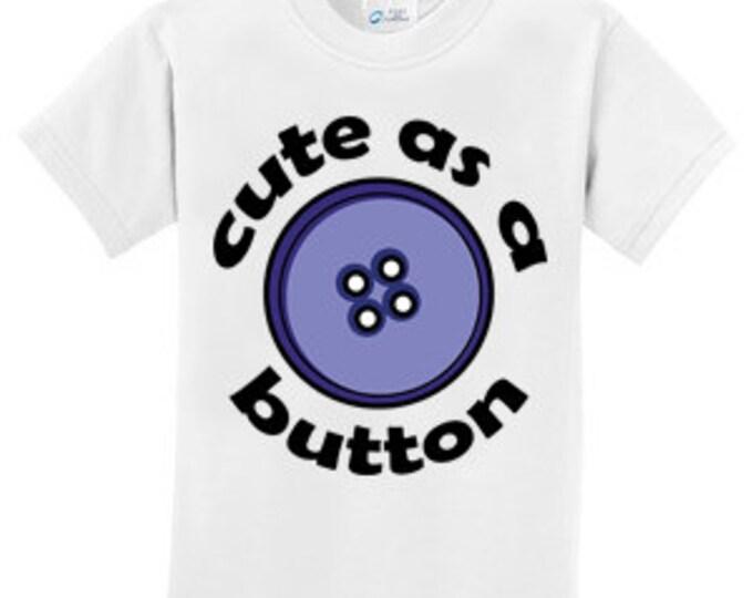 Cute as a Button Blue T-Shirt