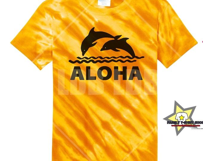 Aloha Dolphins Hawaiian Tie Die T-Shirt