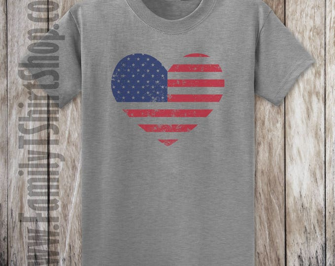 American Flag Heart Distressed T-shirt