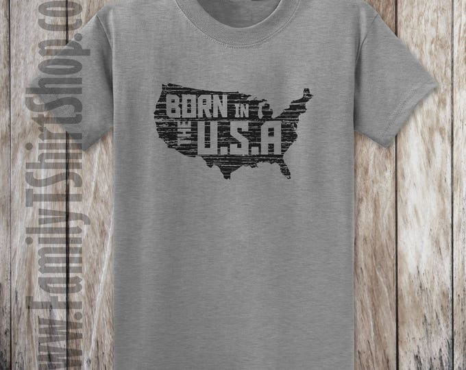 USA Map- Born In The USA T-shirt