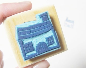 Rubber stamp little house handcarved mounted on wood