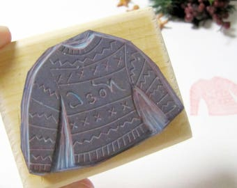Rubber stamp ugly sweater jumper gingerman christmas winter handcarved mounted on wood