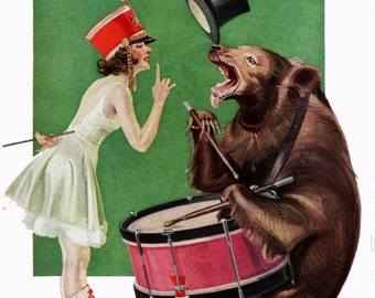 1b1f5d65e715 Majorette with bear playing drum, Life cover, vintage, instant digital  download, 300 dpi, full color, Paper0120