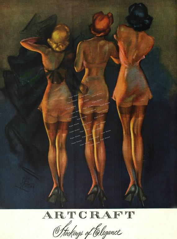 Artcraft Hosiery Ad Vogue Magazine Art Deco Era 1920s Etsy
