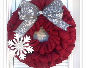 christmas wreath winter wreath red with merry christmas ribbon holiday burlap wreath merry christmas wreath silent night wreath - Christmas Wreaths Etsy