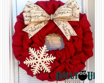christmas burlap wreath winter wreath red with merry christmas ribbon holiday burlap wreath merry christmas wreath - Christmas Burlap Wreath