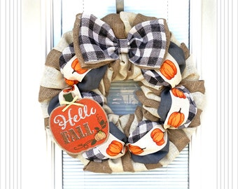 Happy Harvest Burlap Wreath -  Orange,  Natural, Burlap Wreath, plaid Wreath, Fall Wreath Decor , Fall Decor, Everyday Wreath