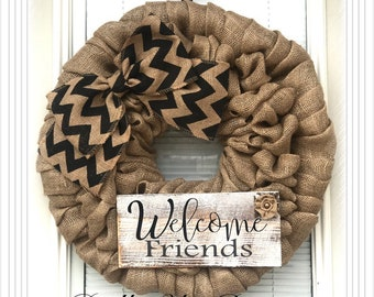 Welcome Wreath - Wreath, Christmas Wreath, Wreath, Door Decor, Wreath Burlap Wreath - Decor Burlap, Door Wreath- wreath