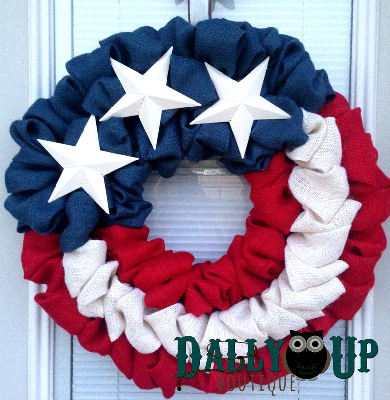 Patriotic Wreath 4th of July Burlap Wreath White  and Blue Burlap Wreath Flag Wreath Burlap Wreath Independence Day Wreath Red