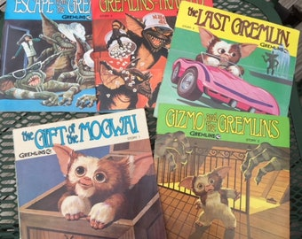 Set of 5 Gremlins Story Books 1-5 on Record Collect Gizmo Mogwai