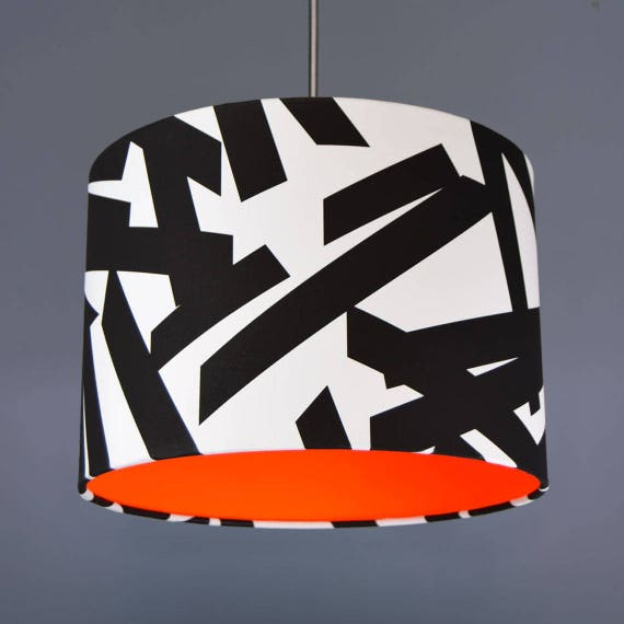 Monochrome Brush Stroke Lampshade Pendant With choice Of Neon Lining