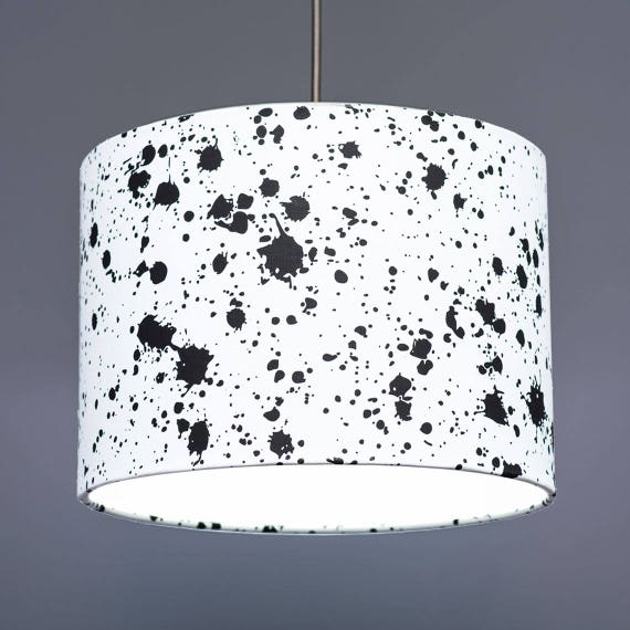Black And White Monochrome Ink Splatter Effect Fabric Drum Lampshade Pendant 20cm 30cm 45cm
