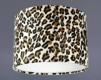 Leopard Animal Print Faux Fur Fabric Drum Lampshade Pendant