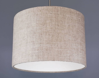 Natural Beige Raw Washed Pure Linen Fabric Drum Lampshade Pendant