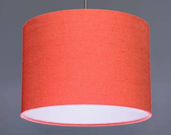 Coral Salmon Pink Pure Linen Fabric Drum Lampshade Pendant