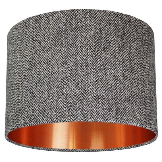 Grey Harris Tweed Herringbone Fabric Drum Lampshade Choice Of Brushed Metallic Lining In Copper, Gold And Silver 20cm 30cm 45cm