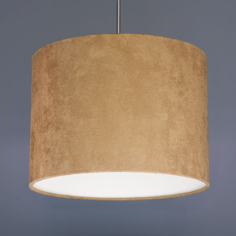 Coffee Brown Suedette Drum Lampshade For Lamp Bases Or Ceiling image 0