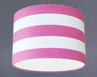 Pink And White Deckchair Stripe Cotton Fabric Drum Lampshade Pendant