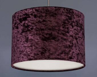 Aubergine Crushed Velvet Effect Fabric Drum Lampshade Pendant