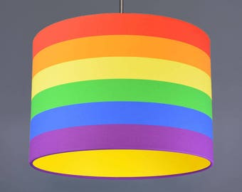 Rainbow Stripe Lampshade Pendant With choice Of Bright Coloured Lining