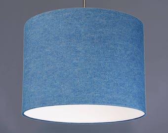 Mid Wash Blue Denim Fabric Drum Lampshade Pendant