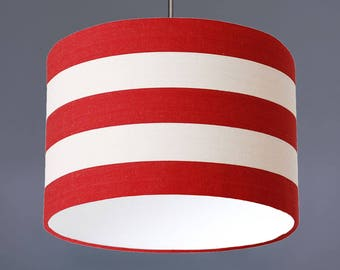 Red And White Deckchair Stripe Cotton Fabric Drum Lampshade Pendant