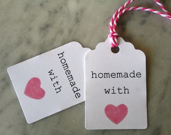 Homemade With Love Gift Tags Party Favor Watercolor