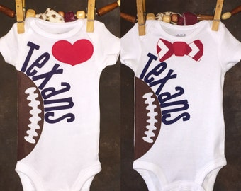 Houston Texans Personalized Heart OR Bow Tie Team Football Bodysuit
