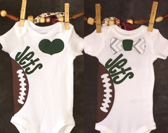Personalized Heart OR Bow Tie New York Jets Team Football Bodysuit