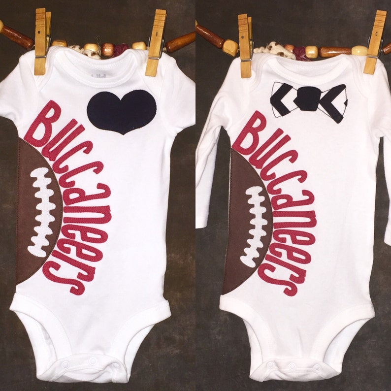 c7ce654a Personalized Heart OR Bow Tie Tampa Bay Buccaneers Team Football Bodysuit