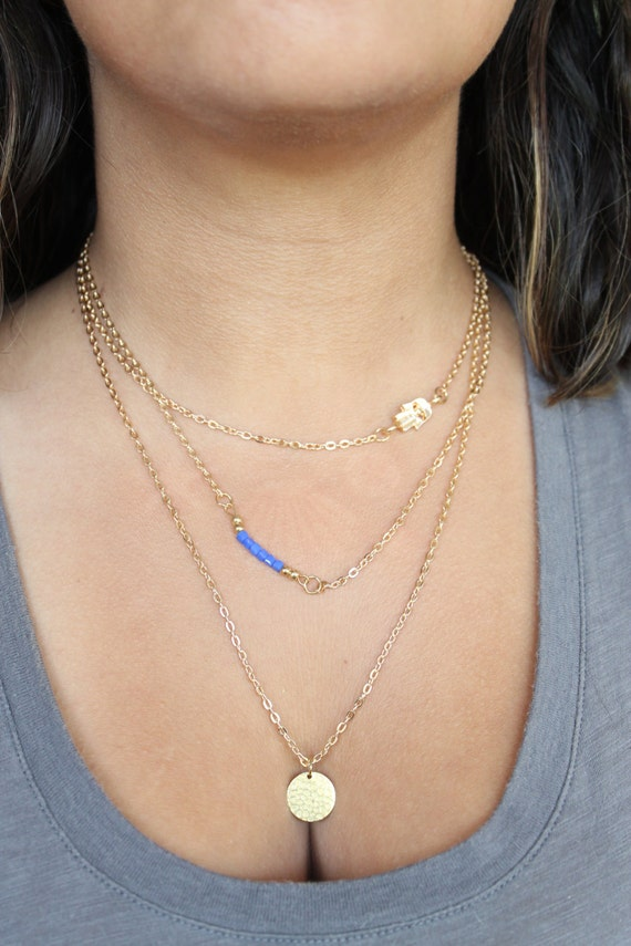 Layered Necklaces Set  Dainty Necklaces  Thin Chain Necklaces  Gemstone Necklaces