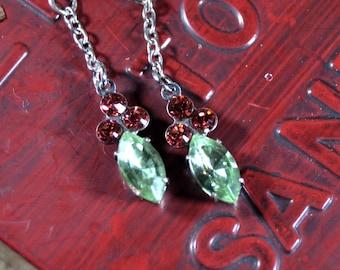 Vintage Inspired Swarovski Crystal Holly dangle elegant minimalist earrings.