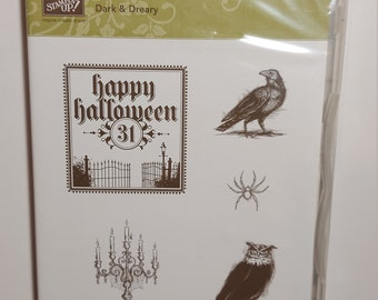 Stampin Up Rubber Stamp set with Wood Blocks *Lots of Thoughts* New Not mounted Paper Craft De-Stash