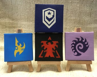 Overwatch Starcraft Logo Spray Paint Mini Canvas Paintings & Wooden Easel