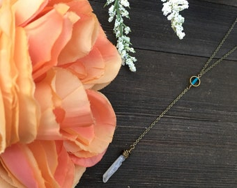Crystal Y necklace drop and lariat necklace with turquoise and quartz