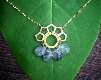 Mayan mandala handmade tourmilated quartz crystal boho necklace