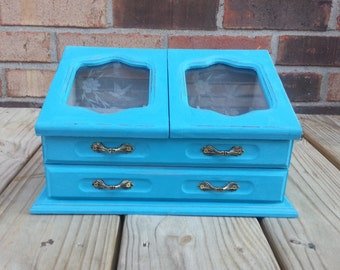 Blue Wood Jewelry Box