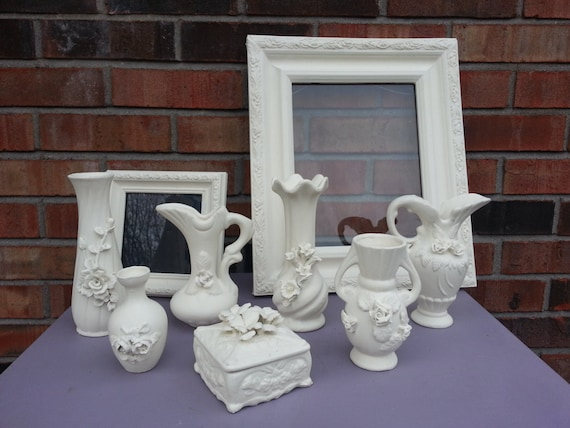 Set Of 9 Ceramic Vases And Frames With Annie Sloan Old White Etsy