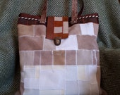 ochre leather, white, brown bag