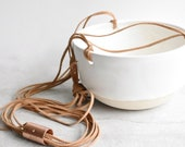 Simple Airy Contemporary Porcelain Medium Hanging Planter with Copper and Leather