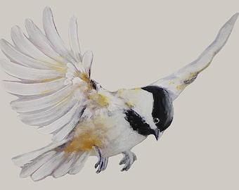 Flying Chickadee, Wall Decal Bird, Black-Capped Chickadee, Get Well Gift, Fabric Wall Sticker (Not Vinyl), Nursery,  Watercolor Bird