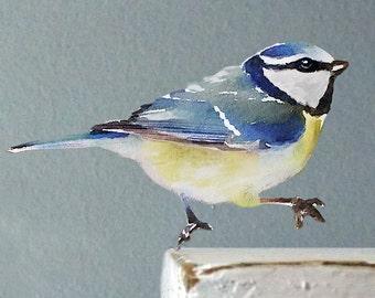 Wall Decal Bird, Bird Wall Sticker, Get Well Gift, Watercolor Fabric Wall Sticker (Not Vinyl), Nursery, Blue Tit Wall Decal, Watercolor Bird
