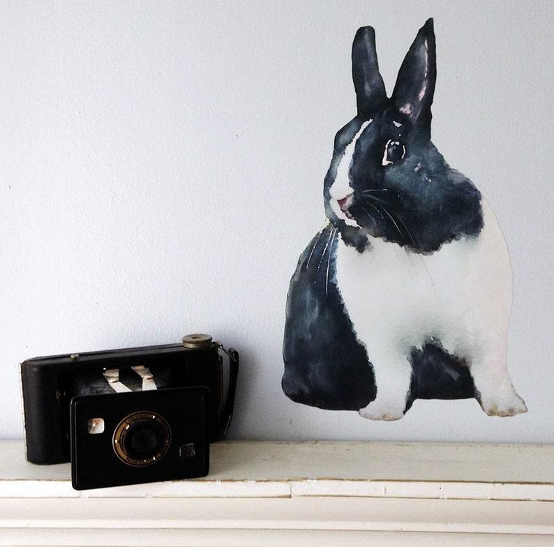 Hare Decal Woodland Animal Rabbit Wall Decal Fabric Wall Sticker Nursery Woodland Decor Bunny Wall Decal Watercolor Rabbit