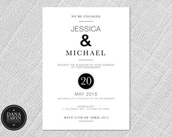 Printable Engagement Invitation - Button Black DIY